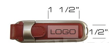 the logo size of leather usb flash drive