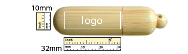 the logo size of Bamboo Shoot USB Flash Drive