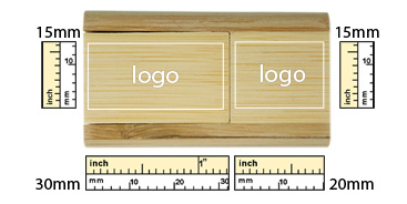 the logo size of Bamboo Flip USB Flash Drive